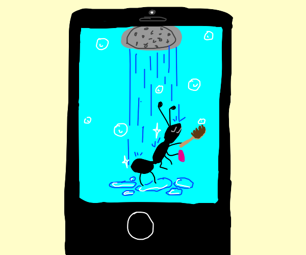 ant showering on an iPhone
