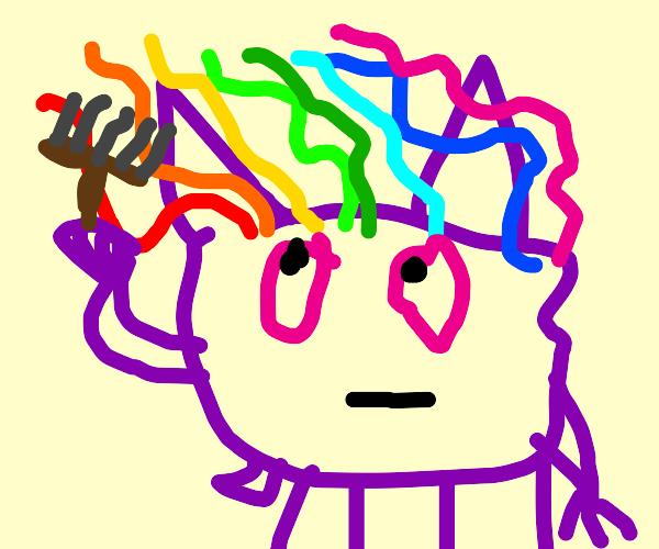 Gengar paints himself some hair