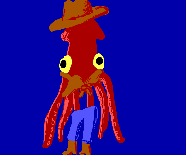 squid dressed like 70s country girl