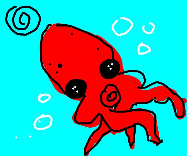 Dazed red squid