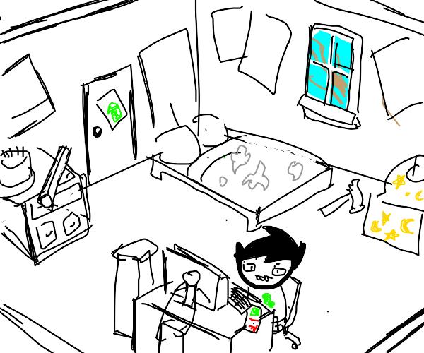 Homestuck characters using computer