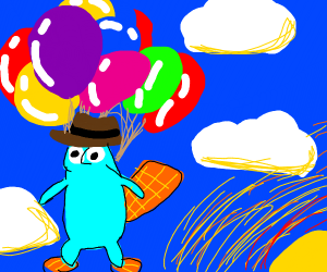 Perry the platypus does a balloon escape