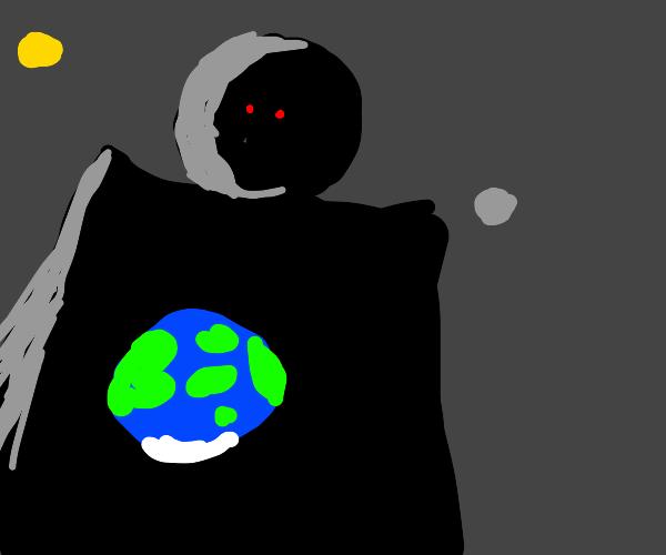 Dark figure approaching earth