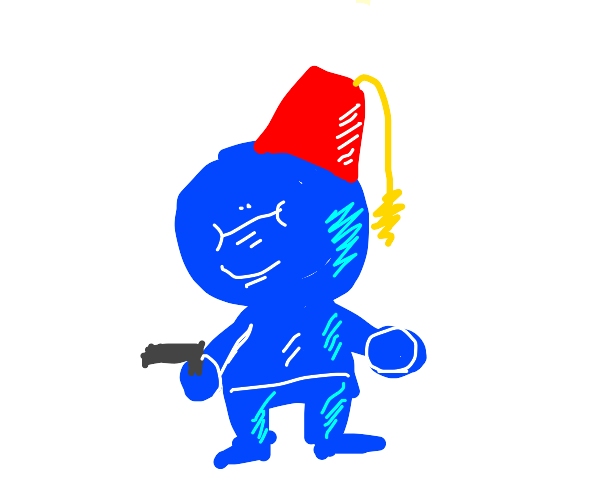 Communist blue guy who has a gun and a fez