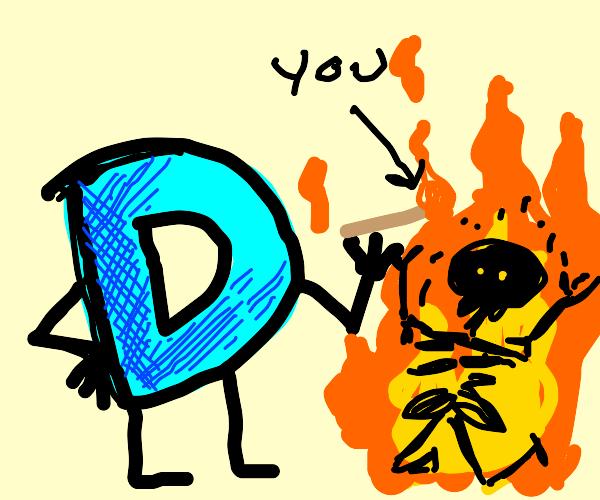 drawception mascot lights you on fire