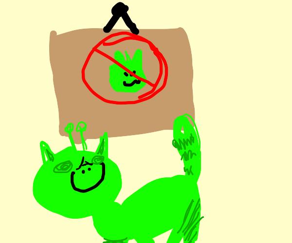 Alien cat ignores sign