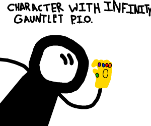 Draw a character with the Infinity Gauntlet