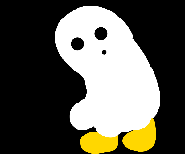 ghost wearing gold shoes