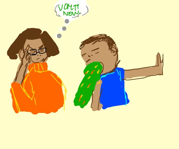 Velma mind controls someone into barfing
