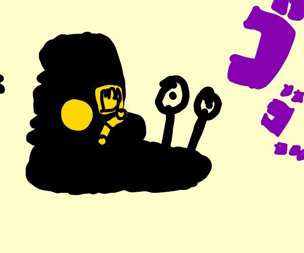 menacing snail wearing jotaro's hat