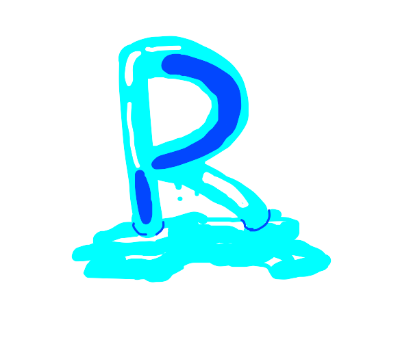The icy letter R is melting.