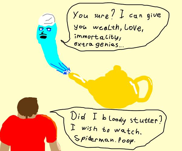 Genie Wish to watch spider man poop