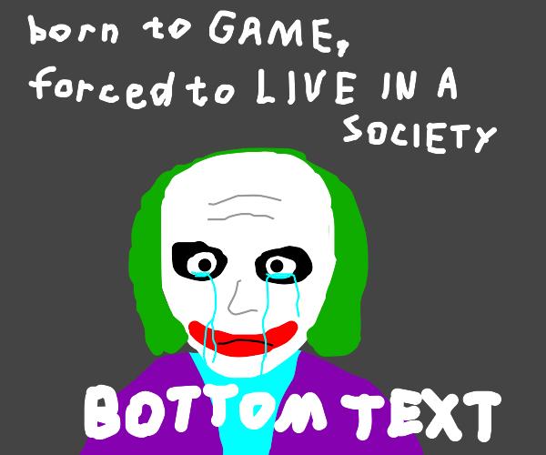 Joker with receeding heairline crying