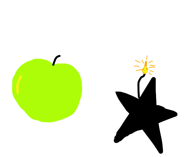 a star-shaped bomb next to an apple
