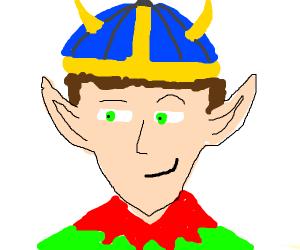 Smug elf with a helmet