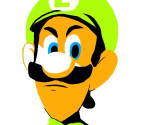 Luigi with a intense stare