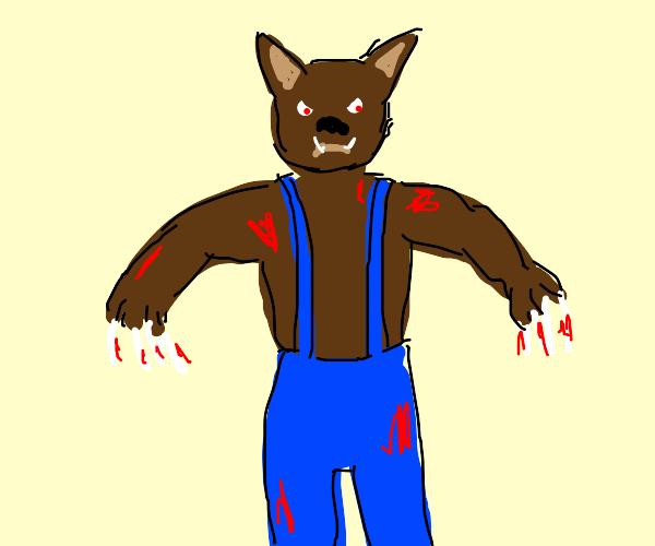 bloody werewolf in overalls