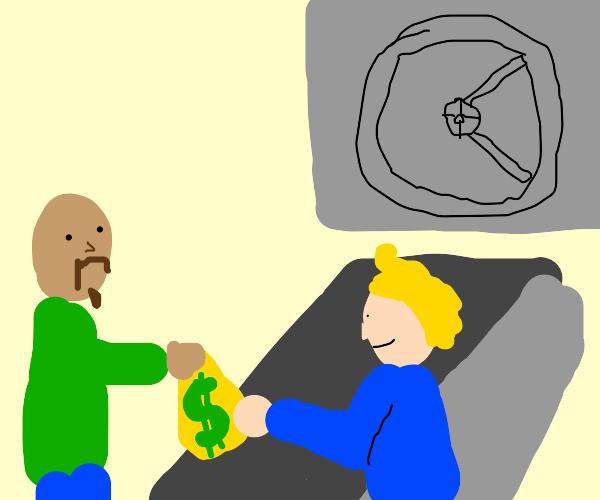 man putting money in bank