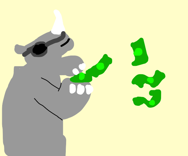 Rhino making it rain