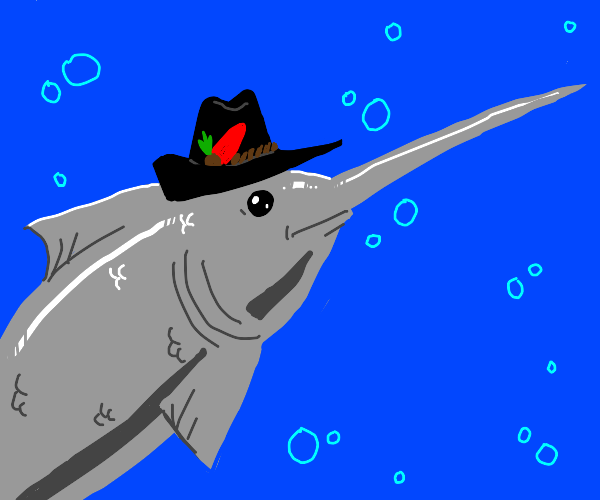 Swordfish with a hat