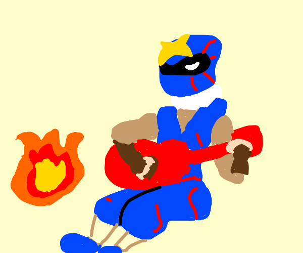 a ninja playing guitar by the fire