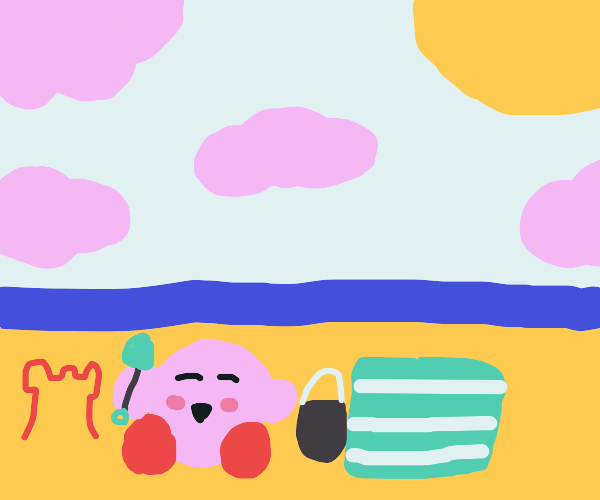 kirby is happy on the beach
