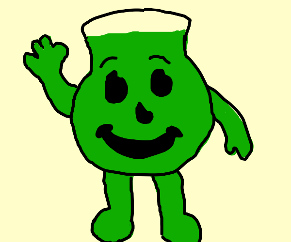 Kool Aid man but it's green