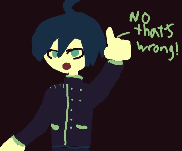 "shuichi saihara saying ""no, that's wrong!"""