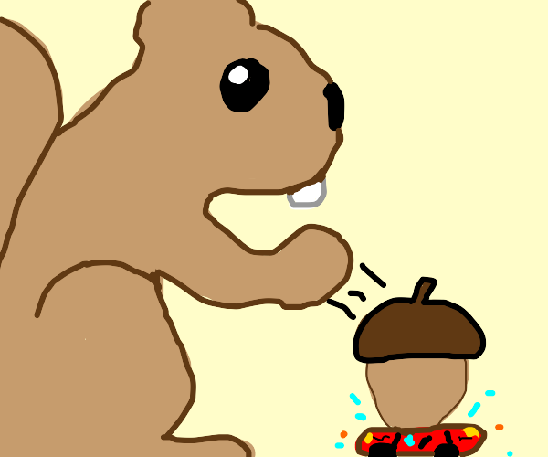 A giant squirrel dropping giant acorns on car