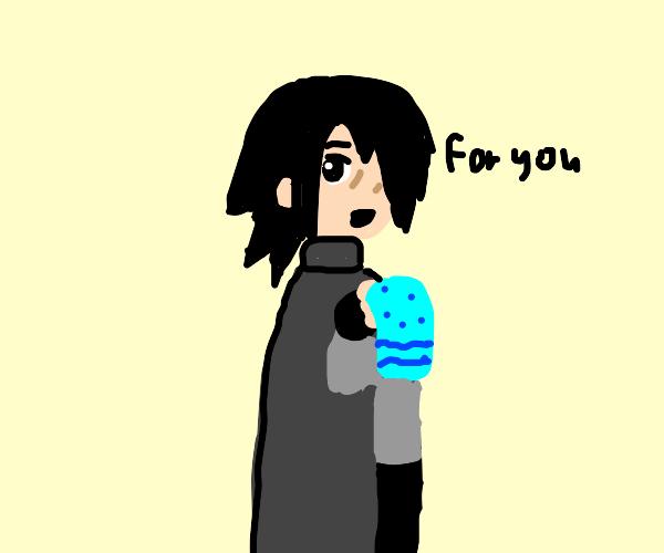 Sasuke gives you a nice towel
