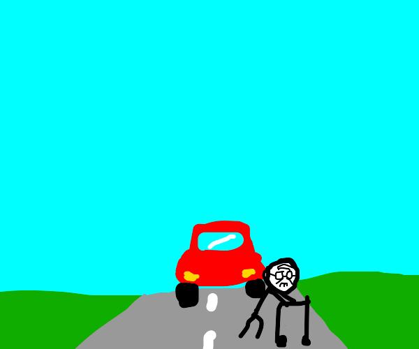 Stickperson with a walker - beware, a car!