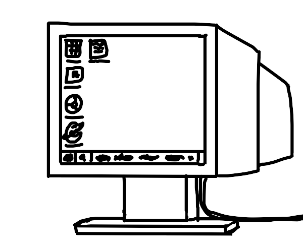 Monitor with icons on it