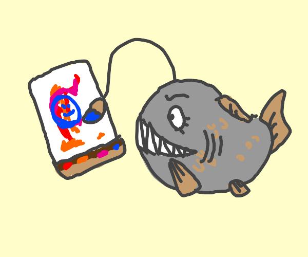 Anglerfish is painting
