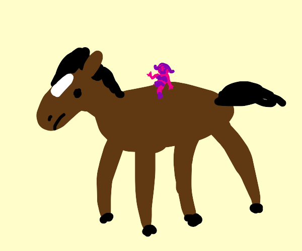 Small sexy pink woman riding large horse