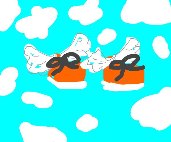 Flying orange shoes