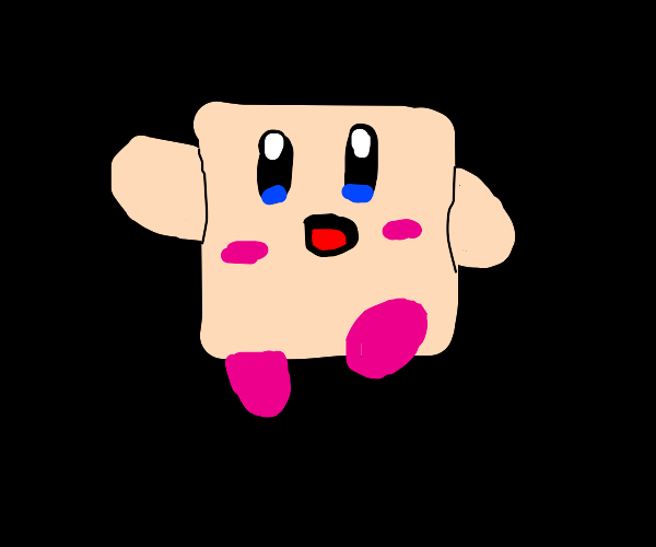 Weird square Kirby says poyo
