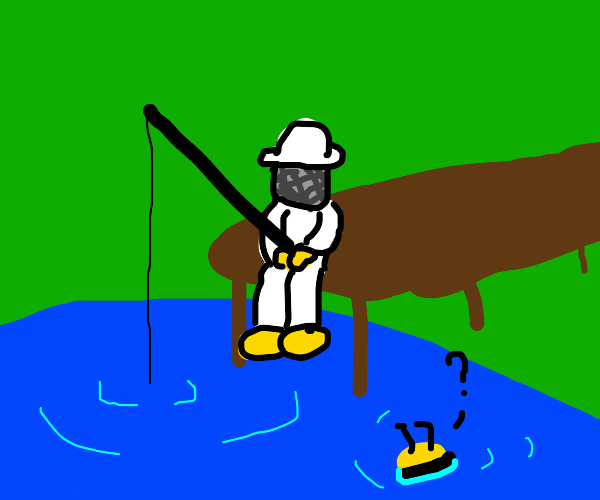 man fishing for bees