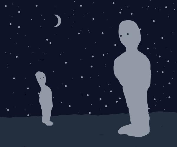 A tiny man looks at normal man