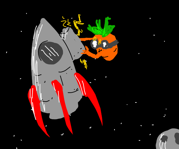 Short carrot fixing a rocket in space
