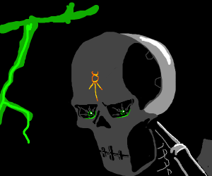 A Spoopy Skeleton with green eyes