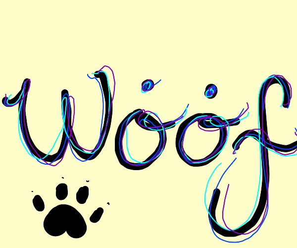 'woof' with dots over o