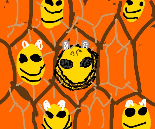 Bee larva in the honeycomb