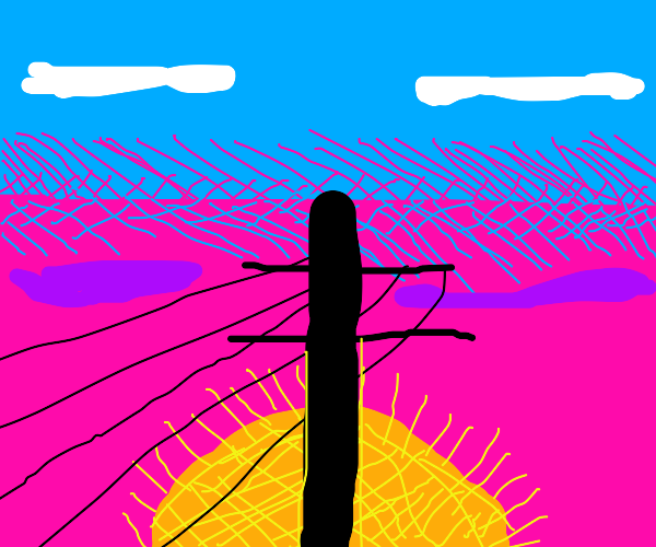 an utility pole in the sunset