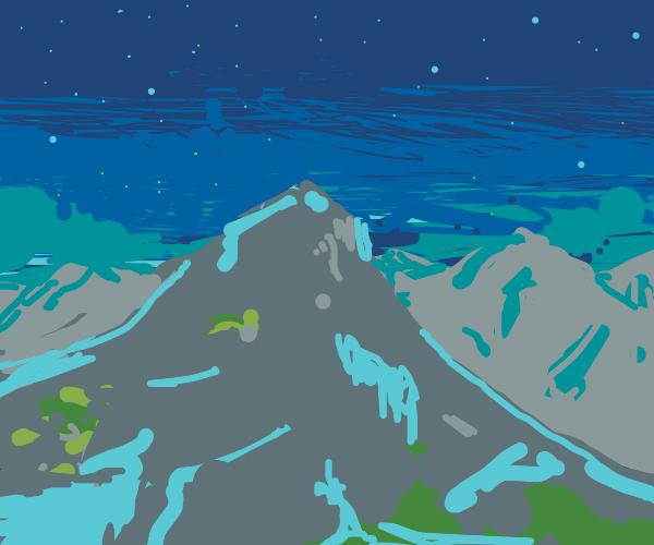 beautiful mountains at night