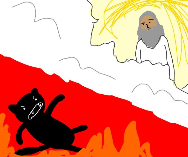 demon cat hisses at god
