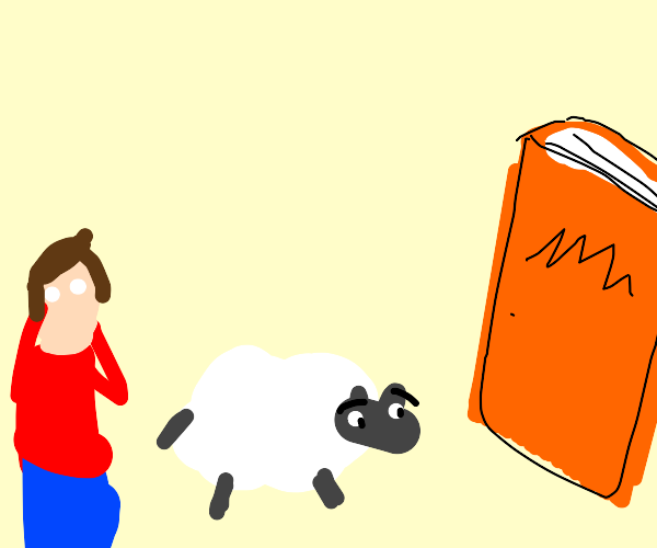 man and sheep surprised by large book