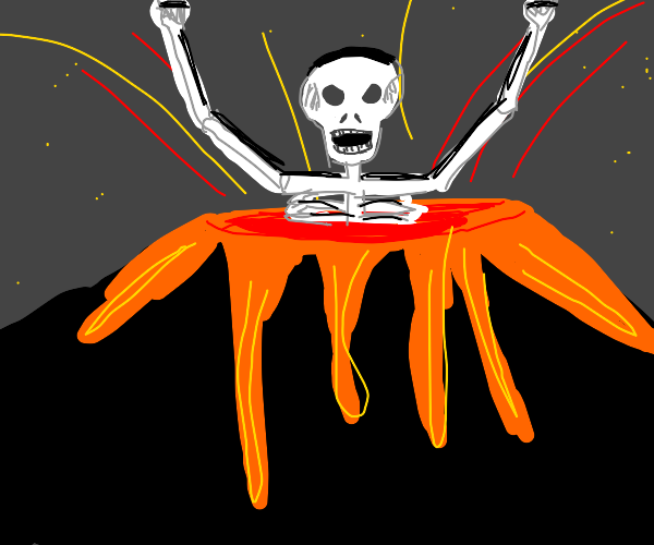 lava skeleton god emerges from the volcano