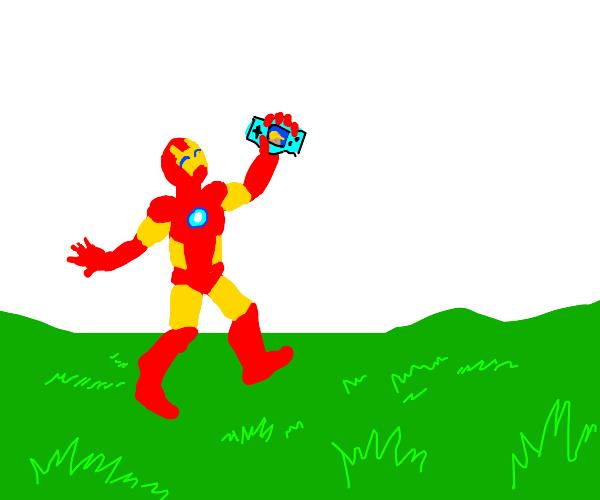 Iron man prances through field, loves game