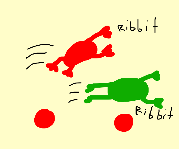 two frogs jumping on red marbles