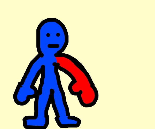 blue man with red hand